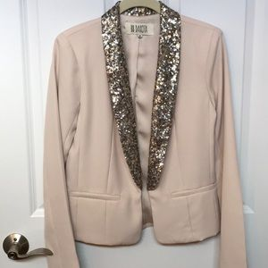 Tan blazer with sequined lapel